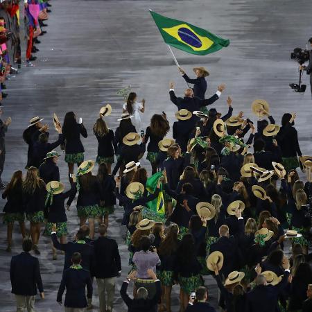 Delegação brasileira durante cerimônia de abertura da Rio-2016. - David Rogers/Getty Images