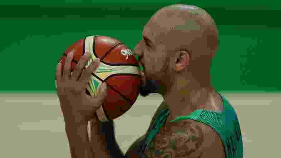 Marquinhos comemora vitória da seleção brasileira masculina de basquete sobre a Espanha na Arena Carioca 1 - André Mourão/O Dia/NOPP