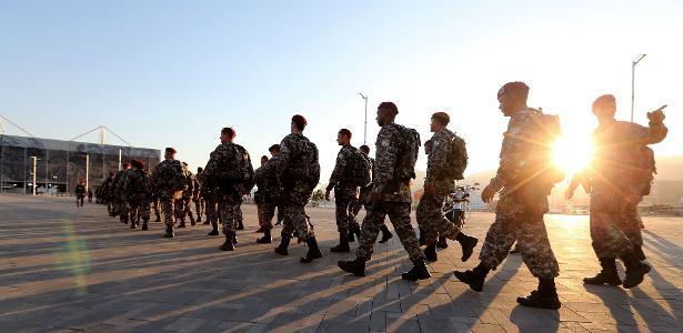 Agentes da Força Nacional chegam no Parque Olímpico, no Rio de Janeiro