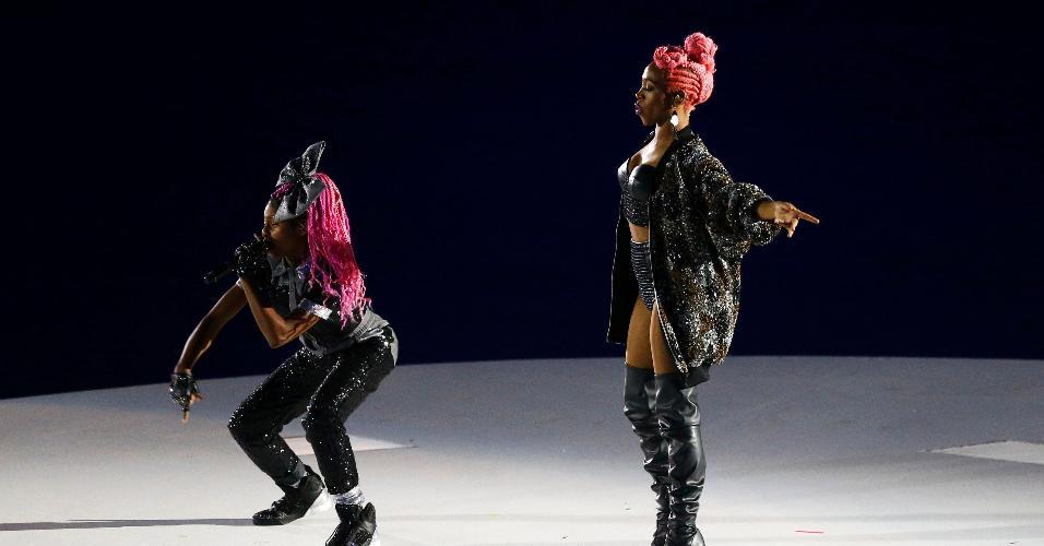 As cantoras Ludmilla e Karol Conka participaram da cerimônia de abertura da Rio-2016