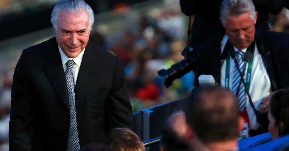 O presidente interino Michel Temer não foi anunciado junto com Thomas Bach, comandante do COI