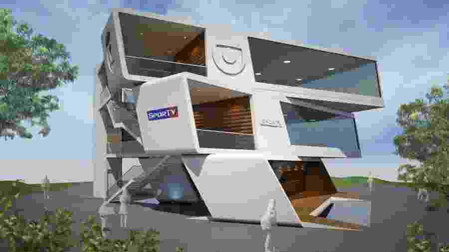 Imagem do projeto mostra como deverá ficar o estúdio da TV Globo dentro do Parque Olímpico - Divulgação/Rede Globo