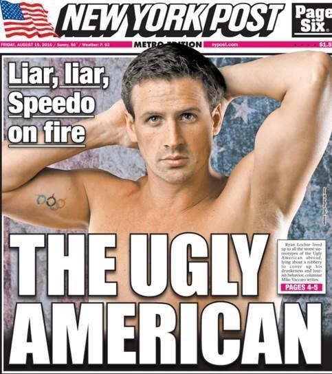 Ryan Lochte é capa do jornal The New York Post