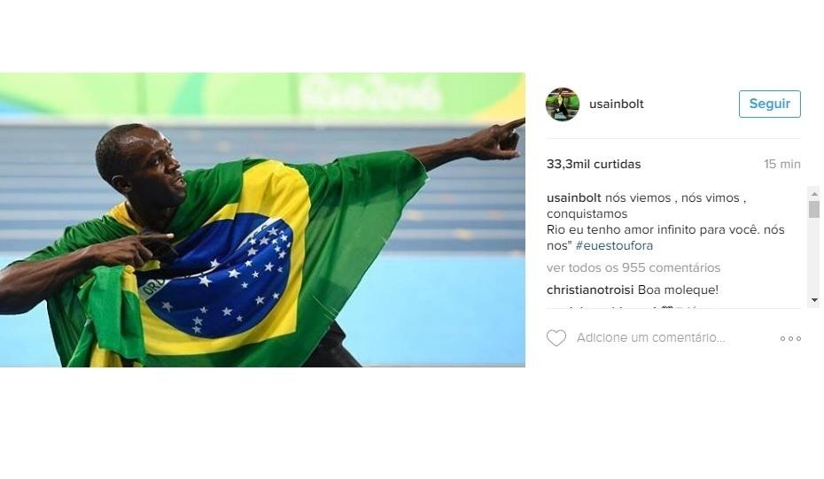 Usain Bolt se despede do Brasil no Instagram