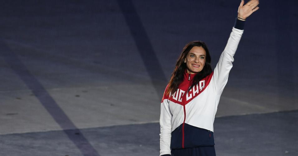 Yelena Isinbayeva não participou dos Jogos devido à suspensão imposta aos atletas russos, mas marcou presença na cerimônia de encerramento
