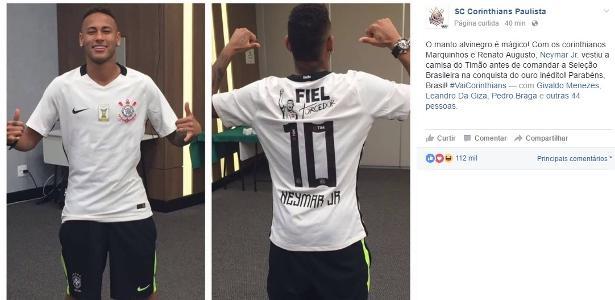 Corinthians posta foto de Neymar com a camisa do clube