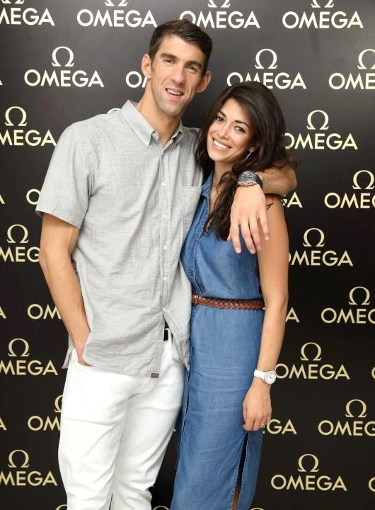 Michael Phelps e Nicole Johnson na Omega House, em Ipanema