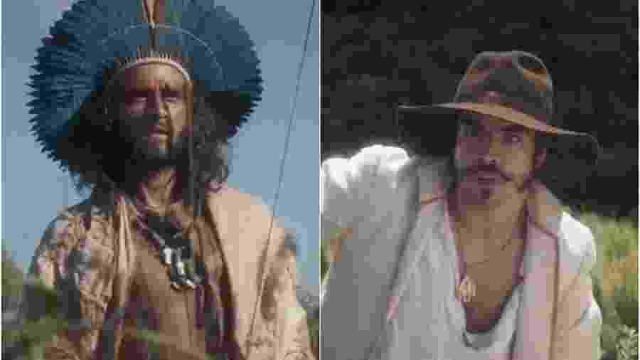 Joaquim (Chay Suede) e Dom Pedro (Caio Castro) em Novo Mundo (Foto: Montagem/Reprodução/TV Globo) - Reprodução / Internet