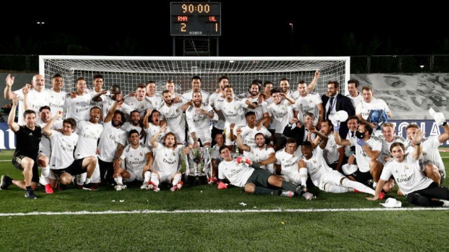 Real Madrid comemora o título do Campeonato Espanhol, a liga de maior coeficiente na Uefa - Reprodução
