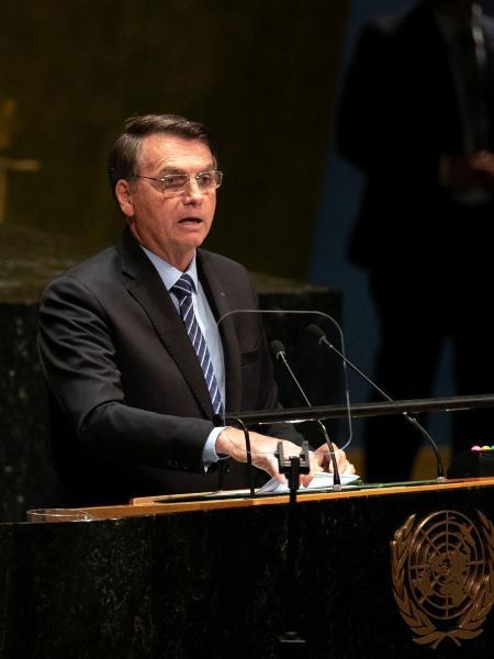 Jair Bolsonaro durante o seu discurso na Assembleia Geral da ONU, em Nova York - Jeenah Moon/Bloomberg