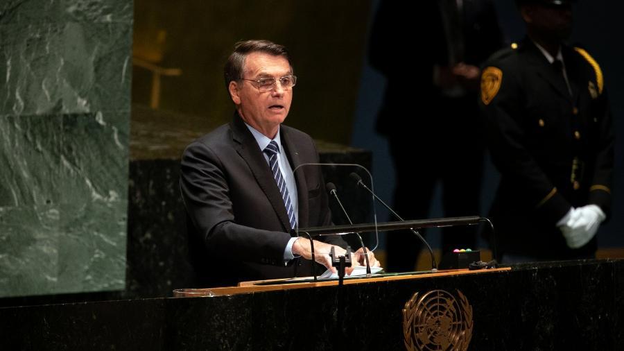 Jair Bolsonaro durante o seu discurso na Assembleia Geral da ONU, em Nova York, em 2019 - Jeenah Moon/Bloomberg