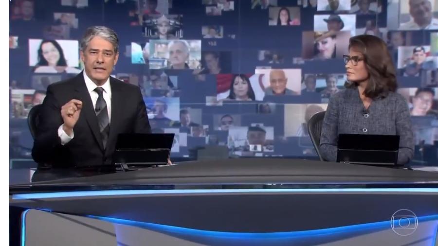 William Bonner e Renata Vasconcellos em editorial do Jornal Nacional sobre os 100 mil mortos por Covid-19, em agosto  - Reprodução / Internet