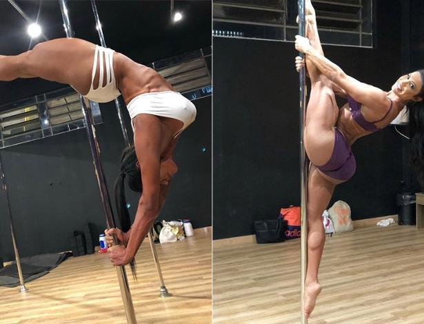 Gracyanne Barbosa começou a praticar pole dance este ano e já consegue fazer vários movimentos - Foto: Reprodução/ Instagram
