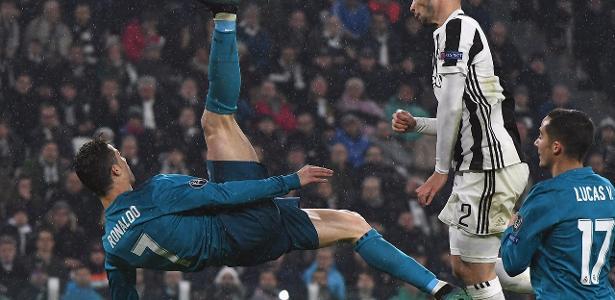 Cristiano Ronaldo, do Real Madrid, marca golaço de bicicleta contra a Juventus