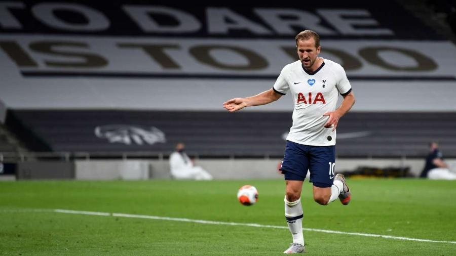 Harry Kane em ação pelo Tottenham                -                                 NEIL HALL/POOL/AFP