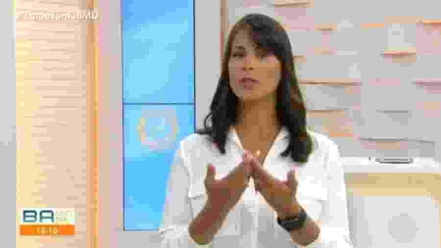 Jéssica Senra critica, ao vivo, em telejornal da TV Bahia, a intenção do Fluminense (BA) contratar de goleiro Bruno  - Reprodução/Tv Bahia