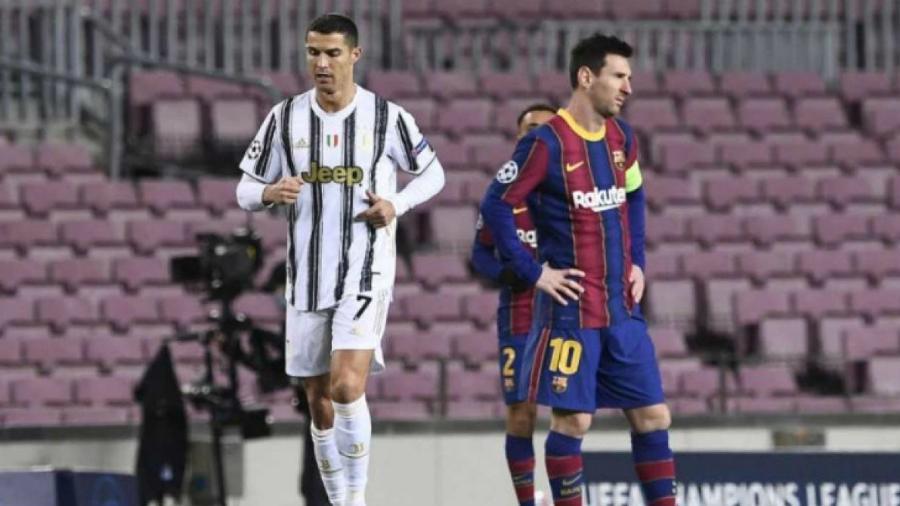 Cristiano Ronaldo, da Juventus, e Lionel Messi, do Barcelona, se enfrentaram pela Liga dos Campeões nesta semana                             - AFP