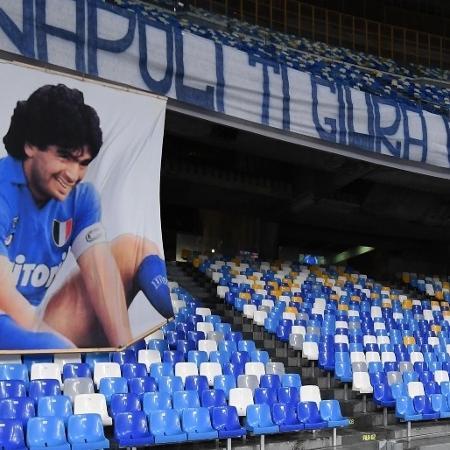 Napoli oficializou a mudança de nome do estádio para Diego Armando Maradona - Divulgação/Napoli