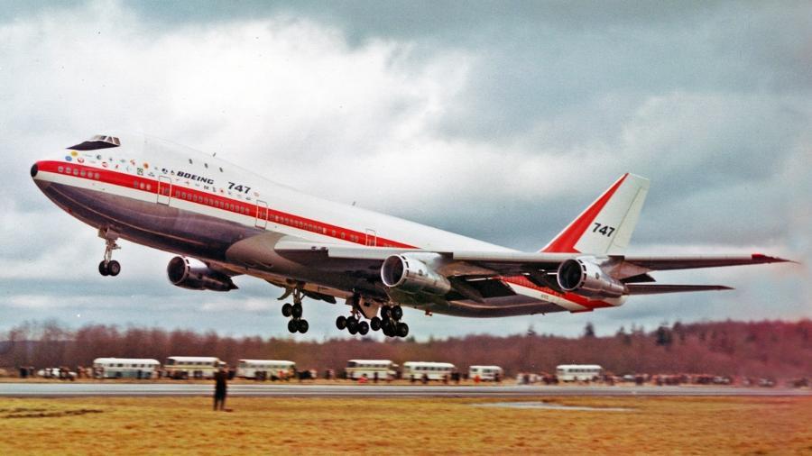 Imagem da primeira decolagem do Boeing 747, em 9 de fevereiro de 1969  - Divulgação