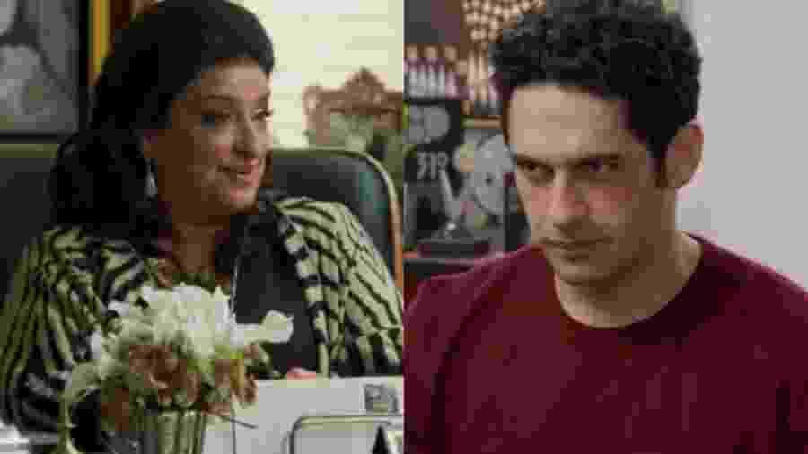 Teodora (Grace Gianoukas) e Beto (João Baldasserini) de Haja Coração (Reprodução - TV Globo) - Reprodução / Internet