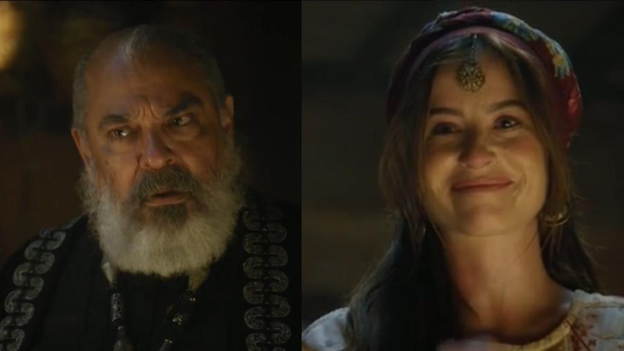 Betuel (Roberto Bonfim) e Rebeca (Bárbara França) em Gênesis (Reprodução/Record TV) - Reprodução / Internet