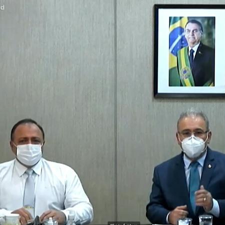 Eduardo Pazuello e Marcelo Queiroga no Jornal da Record (Reprodução/Record TV). - Reprodução / Internet