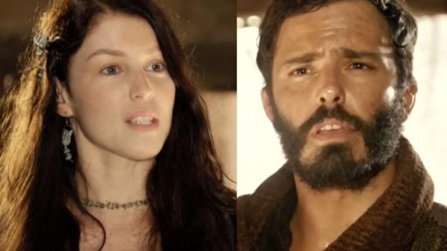 Muriel (Rhaisa Batista) e Judá (Thiago Rodrigues) em Gênesis (Reprodução/Record TV) - Reprodução / Internet