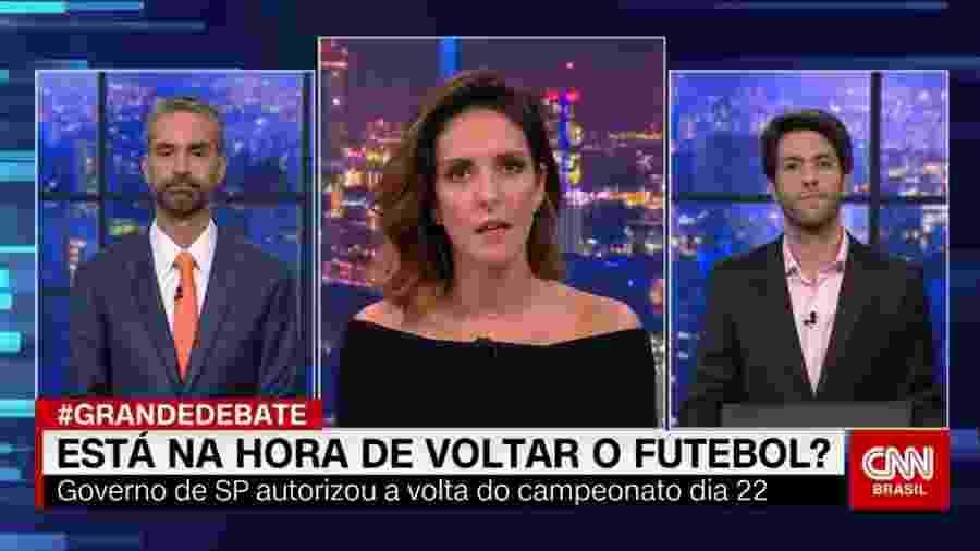 Augusto de Arruda Botelho, Monalisa Perrone e Caio Coppolla no Grande Debate, da CNN Brasil  - Reprodução / Internet