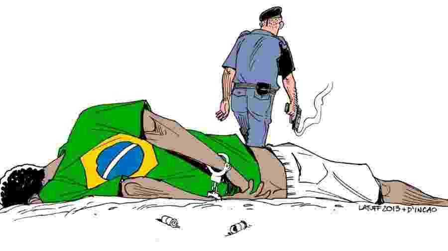 Ilustração do artista Carlos Latuff que foi arrancada da exposição e quebrada - Ilustração do artista Carlos Latuff que foi arrancada da exposição e quebrada