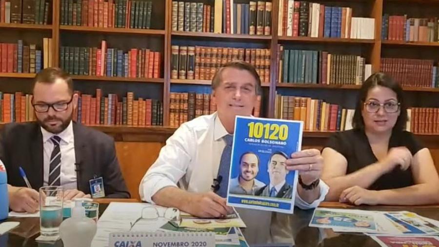 Bolsonaro durante live; especialistas dizem que propaganda presidencial utilizando canais oficiais e estrutura do governo infringe legislação - REPRODUÇÃO DE VÍDEO