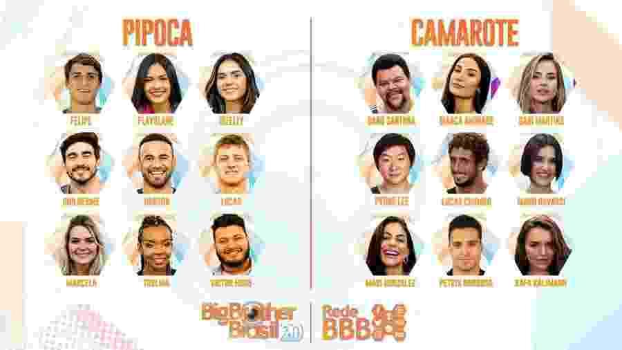 """Participantes do """"BBB20"""", estreia desta terça na TV Globo - Reprodução / Internet"""