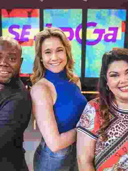 """A equipe do """"Se Joga"""" com Érico Brás, Fernanda Gentil e Fabiana Karla                              - Victor Pollak Divulgação"""