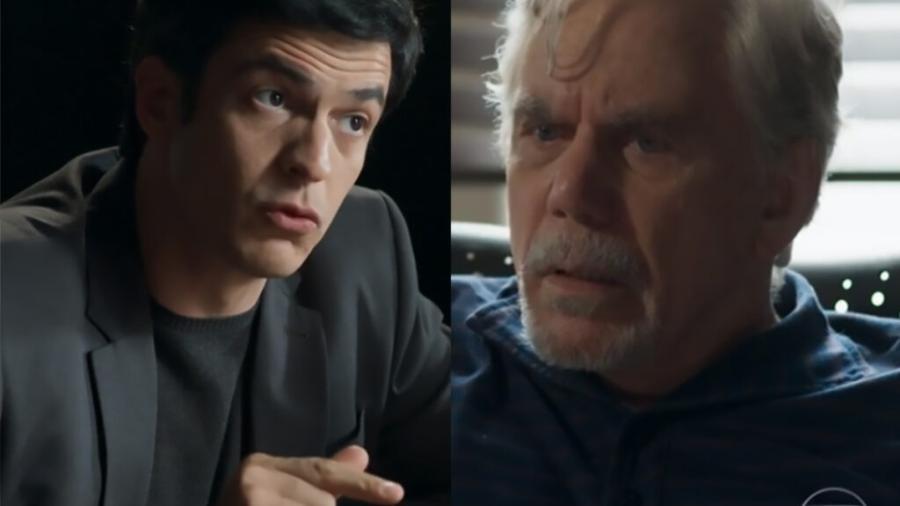 Eric (Mateus Solano) e Athaíde (Reginaldo Faria) em Pega Pega (Reprodução/Globo) - Reprodução / Internet