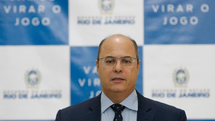 O governador Wilson Witzel, assina licença de instalação da usina termelétrica GNA II, no Porto do Açu, durante reunião no Palácio Guanabara                              -                                 FERNANDO FRAZãO/AGêNCIA BRASIL