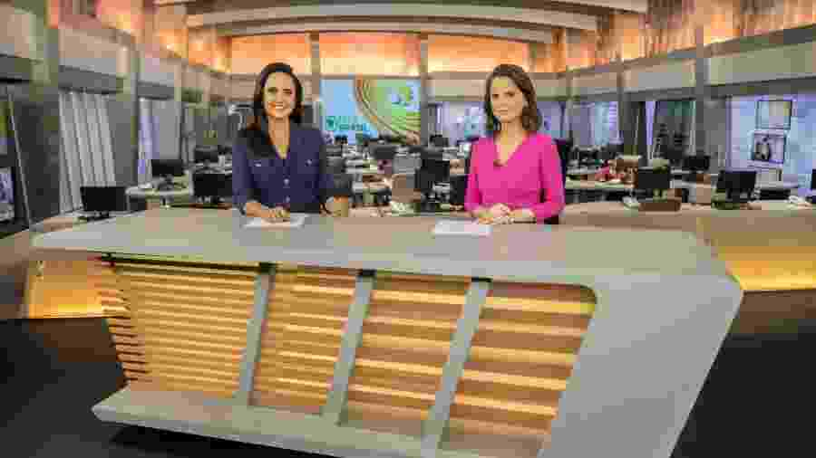"""Carla Cecato e Roberta Piza na bancada do """"Fala Brasil""""; Cecato deixou o jornal para cuidar da saúde - Antonio Chahestian/ Record TV"""