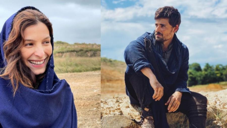 Lia (Michelle Batista) e Jacó (Miguel Coelho) em Gênesis (Reprodução/Instagram) - Reprodução / Internet