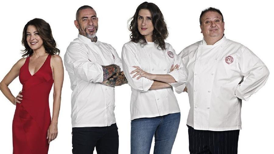 A apresentadora Ana Paula Padrão e os jurados Henrique Fogaça, Paola Carosella e Erick Jacquin, do MasterChef  - Divulgação: Band