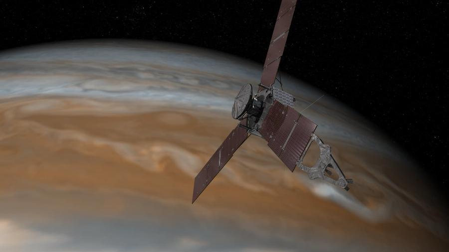 Representação artística mostra a sonda Juno fazendo uma de suas passagens próximas sobre Júpiter - NASA/JPL-Caltech