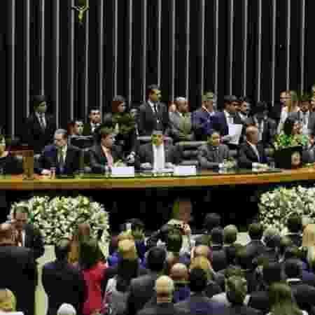 Toffoli, Maia, Davi Alcolumbre e o vice-presidente, general Hamilton Mourão, participam da abertura dos trabalhos do Congresso de 2019 - Luis Macedo / Câmara dos Deputados