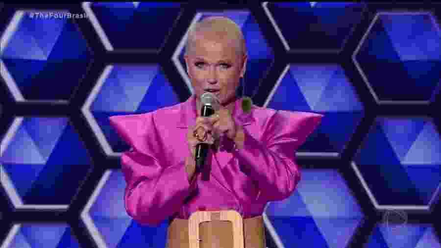 """Xuxa Meneghel apresentando o programa """"The Four Brasil"""", na Record - Reprodução / Internet"""