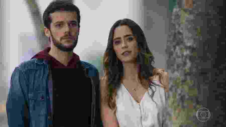 Giovanni (Jayme Matarazzo) e Bruna (Fernanda Vasconcellos) em Haja Coração (Reprodução/TV Globo). - Reprodução / Internet