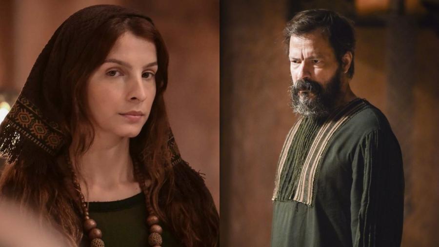 Michelle Batista e Heitor Martinez são Lia e Labão em Gênesis (Reprodução / Record TV) - Reprodução / Internet