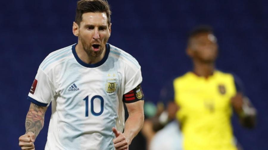 Messi marcou o gol da vitória da Argentina sobre o Equador                              - AGUSTIN MARCARIAN / AFP