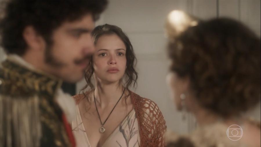Pedro (Caio Castro), Leopoldina (Letícia Colin) e Domitila (Agatha Moreira) em Novo Mundo - Reprodução / Internet