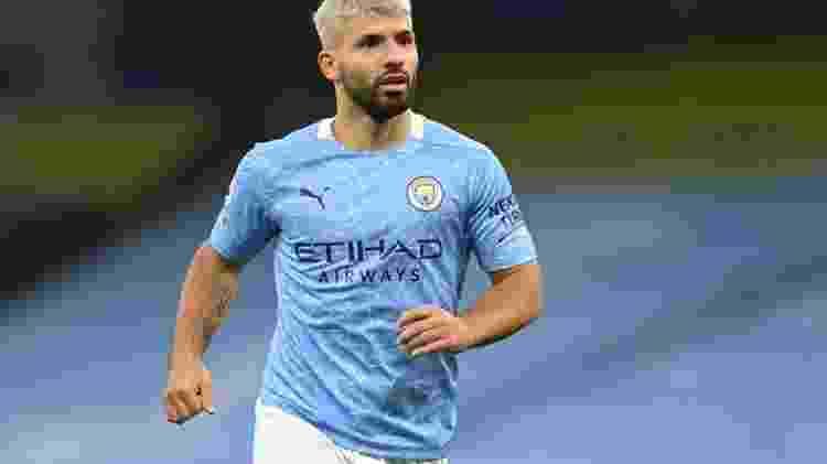 Aguero, jogador do Manchester City em campo - GettyImages - GettyImages