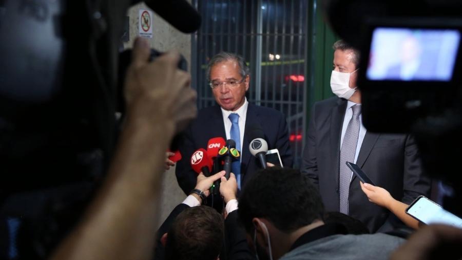 Guedes e Lira no Ministério da Economia após reunião                              -                                 EDU ANDRADE/MINISTÉRIO DA ECONOMIA