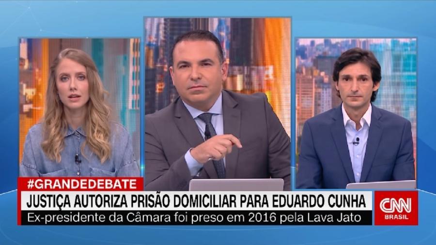 Gabriela Prioli, Reinaldo Gottino e Tomé Abduch, da CNN Brasil, durante programa na sexta-feira (24) - Reprodução