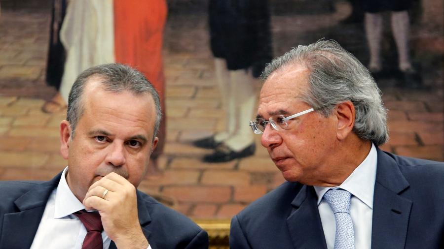 Ministro Paulo Guedes e seu então secretário especial de Previdência, Rogério Marinho - Adriano Machado/Reuters