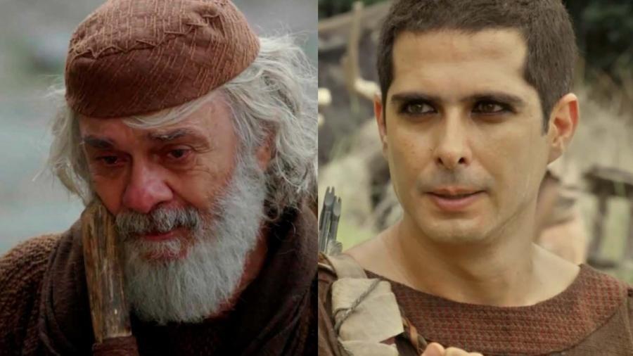Abraão (Zé Carlos Machado) e Ismael (Iano Salomão) em Gênesis (Reprodução/Record TV) - Reprodução / Internet