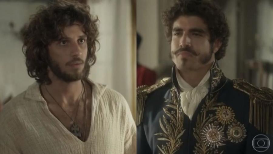 Joaquim (Chay Suede) e Dom Pedro (Caio Castro) de Novo Mundo (Reprodução - TV Globo) - Reprodução / Internet